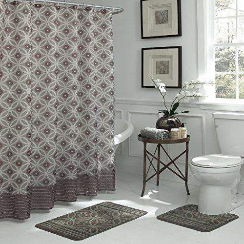 "Bath Fusion Hartford Shower Curtain Set, 72""x72"", Chocolate/Sage"