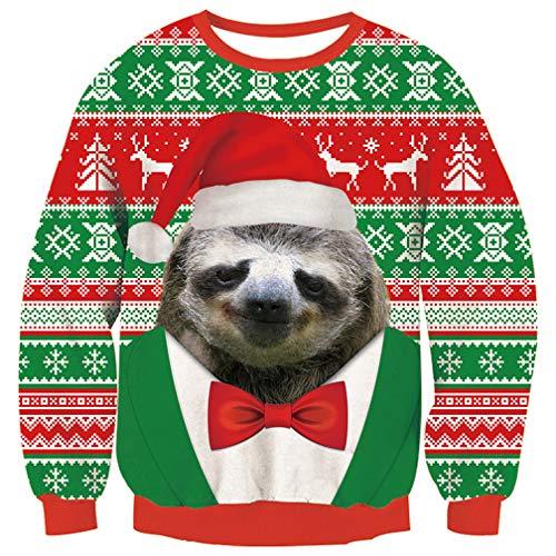 Fanient Weihnachten Sweaters für Herren 3D Gedruckt Faultier Streifen Muster Neuheit Ugly Christmas Pullover L