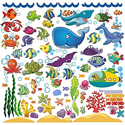 Decorative Ocean Fish Wall Stickers for Kids, Under The Sea Wall Decals for Toddlers' Bathroom, Bedroom, Bathtub, Baby's Nursery, and Children's Classroom, Removable Peel and Stick Decor That Clings