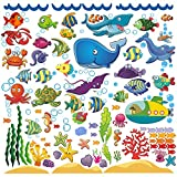 window wall decal sticker - Decorative Ocean Fish Wall Stickers for Kids, Under The Sea Wall Decals for Toddlers' Bathroom, Bedroom, Bathtub, Baby's Nursery, and Children's Classroom, Removable Peel and Stick Decor That Clings