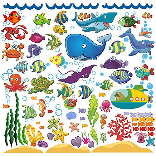 Decorative Fish Wall Stickers for Kids and Toddlers, Ocean Themed Under The Sea Wall Decals for Bathroom, Bedroom, Bathtub, and Children's Classroom, Removable Peel and Stick Fishes That Cling
