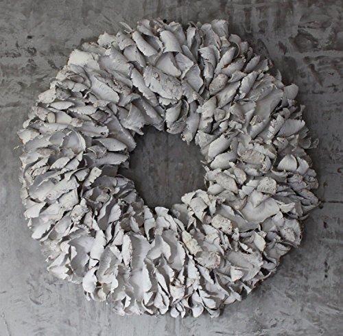 Homeclassics Großer Shabby Blüten Kranz altweiß Türkranz Wandkranz 65 cm Naturkranz Landhaus