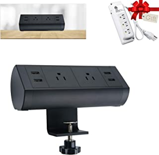 Desk Clamp Power Strip with Surge Protector, Black Desktop Power Outlets, Removable Mount Multi-Outlets with 2 USB Ports, Power Socket Connect 2 Plugs for Home Office Reading