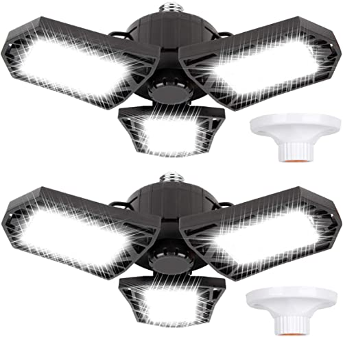 new arrival LED Garage wholesale Lights 60W Deformable 2 Pack 6000LM Close to Ceiling Light Fixtures E26 E27 Screw in Three Leaf new arrival Triple Glow Lighting for Work Shop Warehouse Low Bay New Arrival, No Motion Activated outlet sale