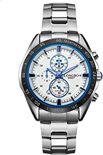 Morden LONGBO 3975 Import Quartz Movement Fashion Sport Men Watch with Stainless Steel Band, Waterproof, Luminous, Three Decoration Dials (Color : Blue)