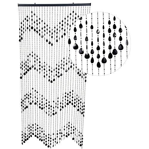 HAB & GUT -DV0323- Türvorhang KLUNKER, schwarz, 90 x 200 cm Perlenvorhang Pailettenvorhang