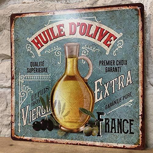 chemin_de_campagne Plaque Pub Plaque Retro Plaque Vintage Tableau Métal Fer Huile d'olive 30 cm x 30 cm x 0.1 cm