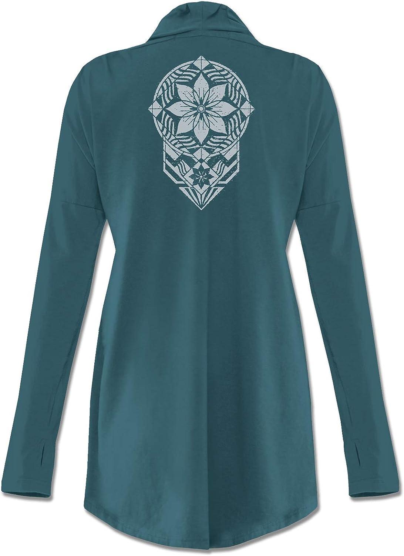 Soul Flower Women's Window to The Soul Organic Cotton Cardigan Sweater, Blue Ladies Drape Front Long Sleeve Irregular Hem Top
