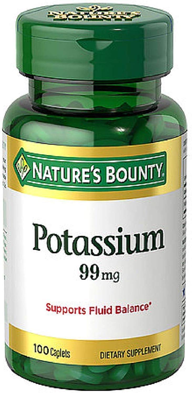 Nature's Bounty Potassium Gluconate 99mg 高品質 of 4 メーカー再生品 100 Caplets Pack