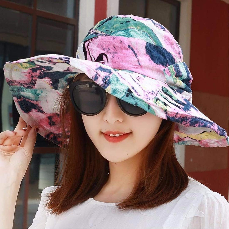 Dianye Fashion female spring summer cotton folding beach hat, Beach Hat, sunshade, sun helmet,colour
