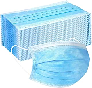 PS Direct Products 50 Pack Disposable 3-Ply Face Mask with Elastic Ear loops - Built-In Filter, Breathable Protection, Adj...