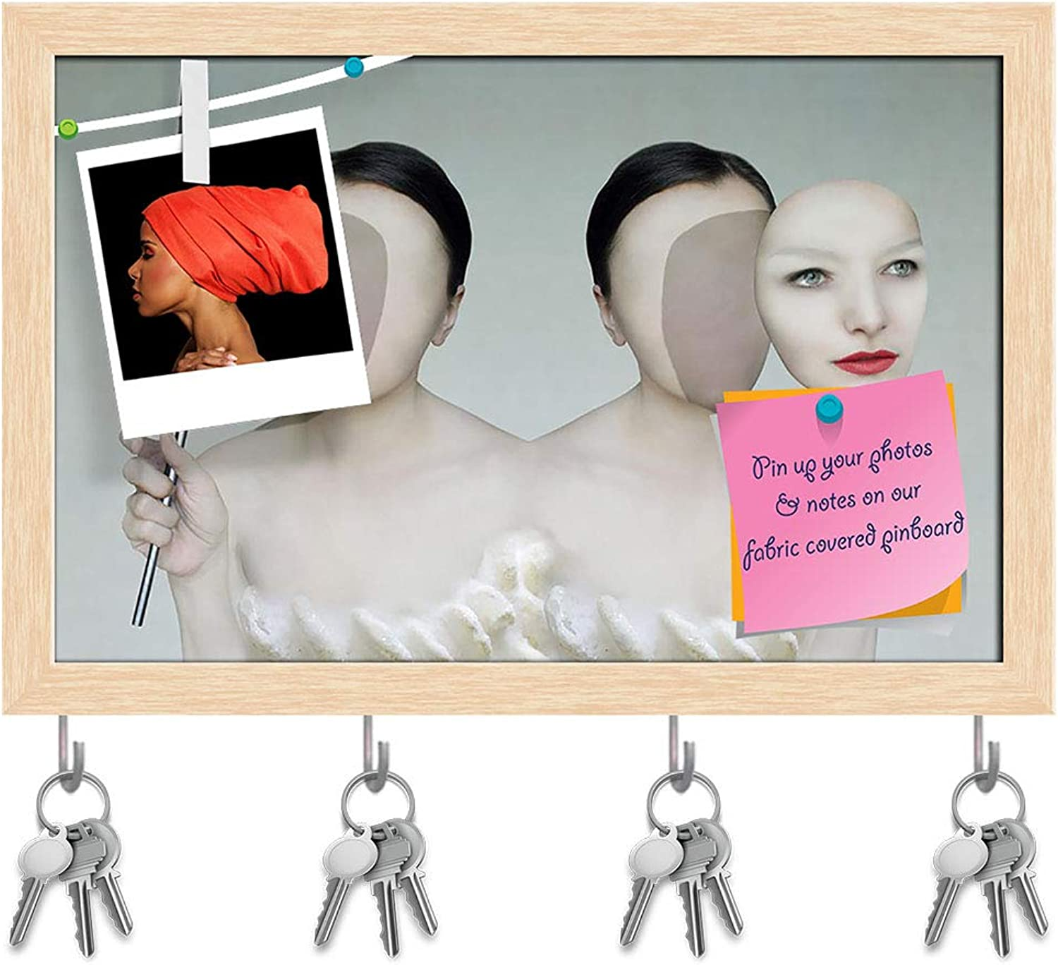 Artzfolio Surreal Portrait of Two Women Key Holder Hooks   Notice Pin Board   Natural Brown Frame 15 X 10Inch
