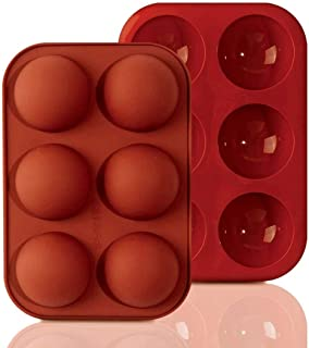 TruVeli Silicon 6 Cavity Semi Sphere Silicone Mold, Silicone Molds for Baking, Molds for Homemade Caramel, Hard Candy, Cho...