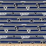Sykel Enterprises NCAA Xavier Polo Stripe Quilt Fabric, Blue/Grey, Quilt Fabric By The Yard
