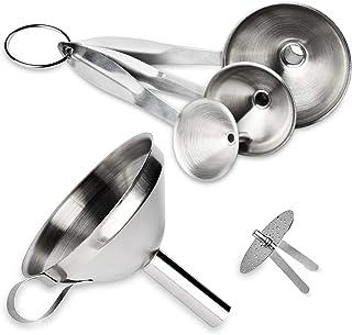 Kitchen Funnels Akamino Stainless Steel Funnels Set of 3 Pack with Removable Strainer for Transferring bottles Liquid, Flu...