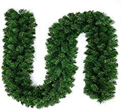 Superday Christmas Garland Festive Holiday Décorations Rattan Pine Fireplace Wreath Xmas Decoration Green Tinsel Body Classic Traditional Theme 8.86FT (Decoration Not Include)