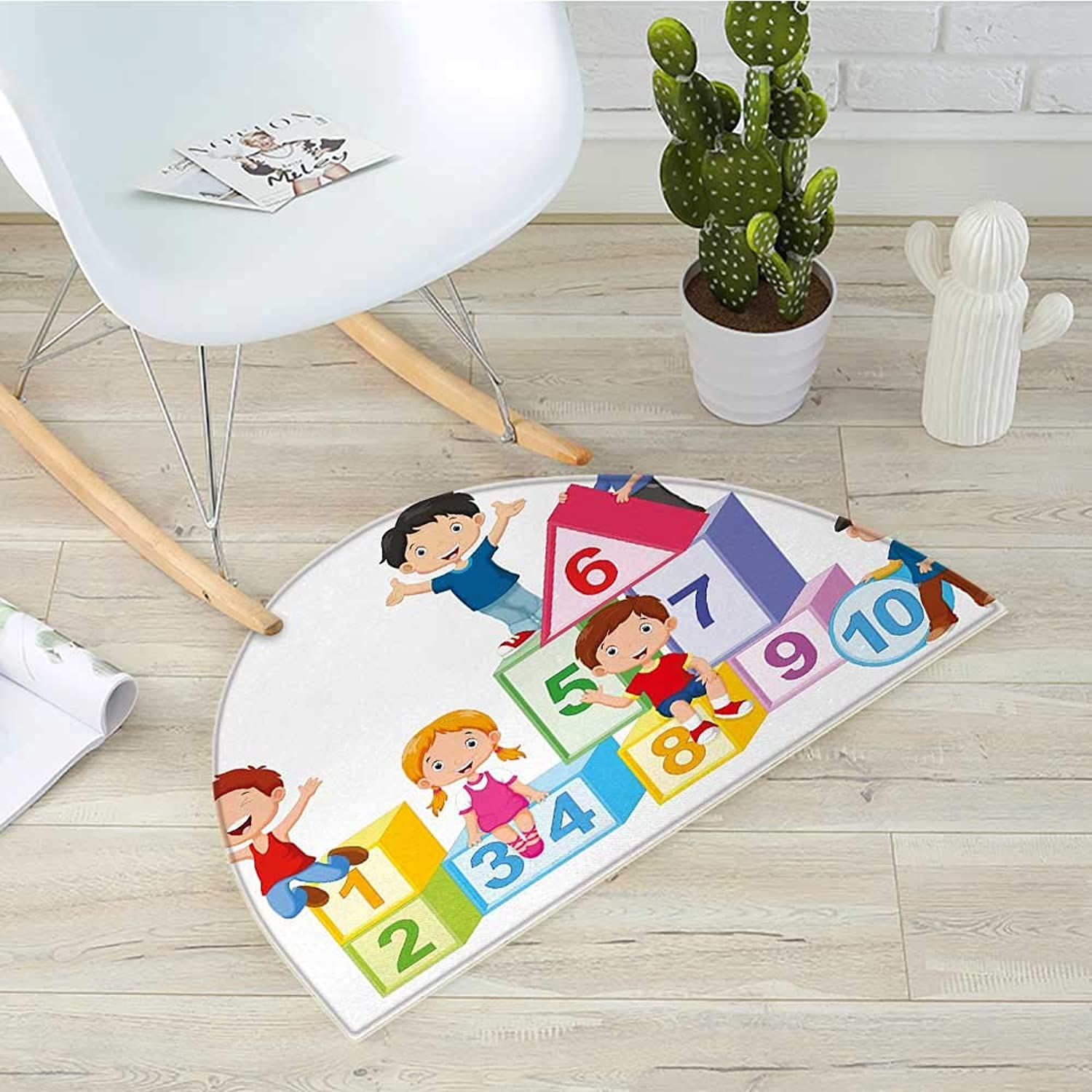 Educational Semicircle Doormat Happy Kids Boys and Girls with Number Blocks Triangle Rectangle and Square Halfmoon doormats H 35.4  xD 53.1  Multicolor