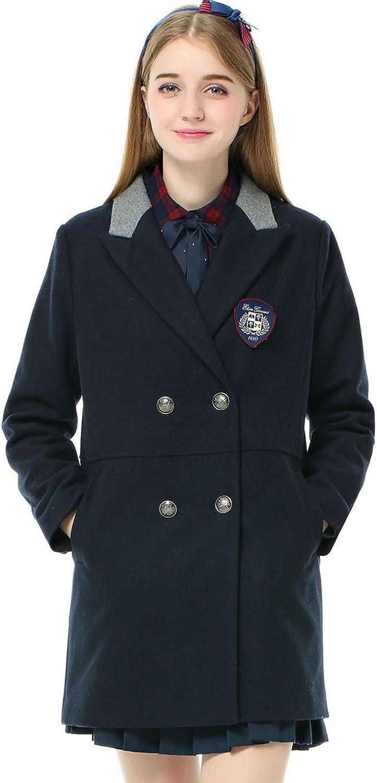 Etongenius Women Girls Long Double Breasted Navy bluee Winter Wool Blend Coat Parka Outwear Trench Jacket Windbreaker