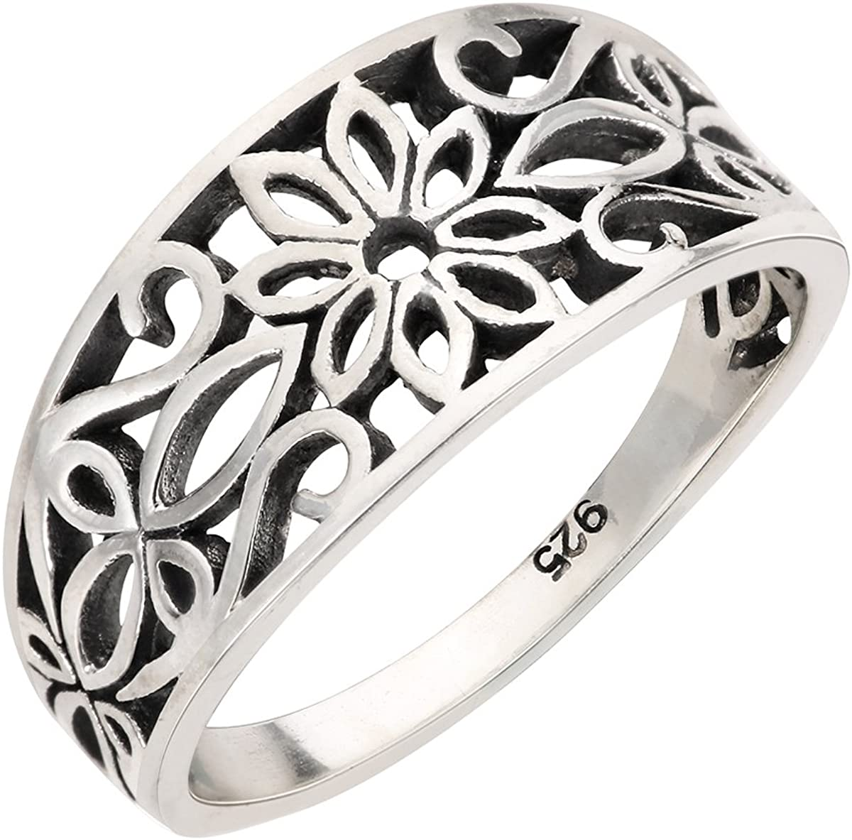 Sterling Many popular brands Silver High material Antique Filigree Design 4-15 Ring Floral Sizes