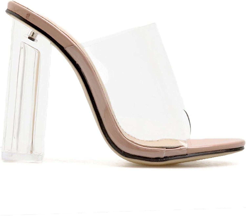 Pink-star Transparent shoes Sandals Women High Heels Summer Party shoes PVC Slip On Square Heels Sandalie