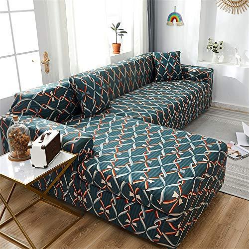 CheChe-nh Vintage Stretch Slipcovers Sofá Seccional Elastic Sofá Cubierta para Sala De Estar Sofá Cubierta Individual Dos Tres Cuatro Asientos-Un 4 plazas
