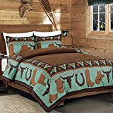WPM 3 Piece Western Cabin Lodge Comforter Set Brown/Teal Horseshoe, Horse, Barb Wired Cow Boy Hat Boot Print Southwestern Cowboy Queen Size Bedding- Western (Queen)