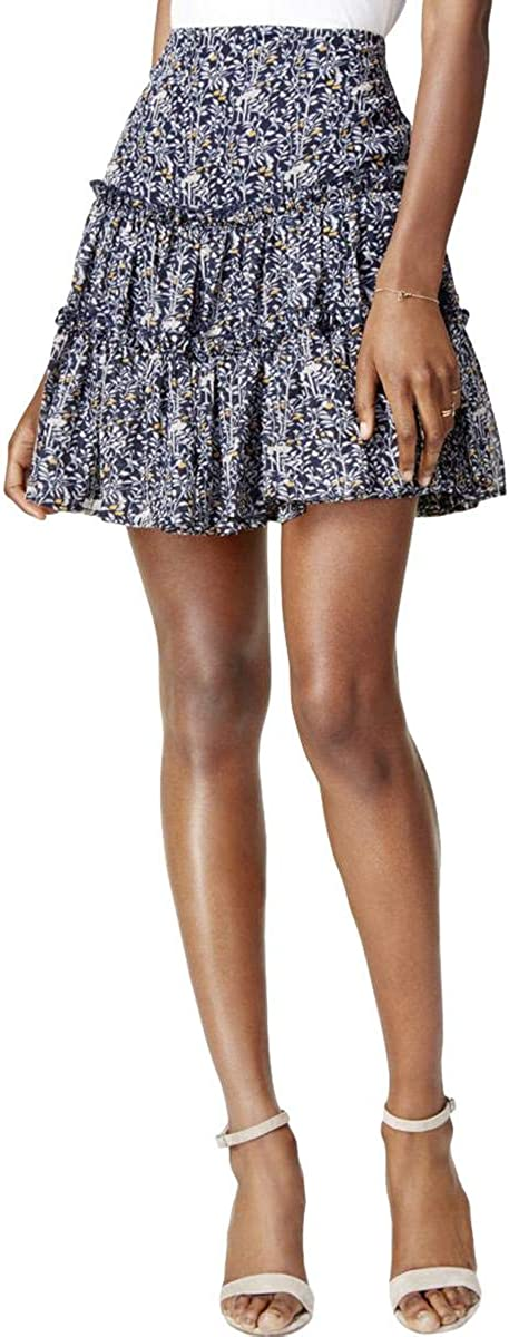 Mare Mare Womens Ruffled A-line Skirt, Blue, X-Small