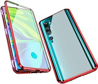 Jonwelsy 携帯電話 ケース Xiaomi Mi Note 10 / CC9 Pro に適し 360度 前面と背面 強化ガラス 磁気吸着 金属フレーム カバー 完全保護 耐衝撃 擦り傷防止 磁性技術 CC9 Pro (赤)