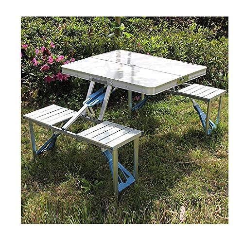 XIAOJU Juego de sillas de Taburete de Mesa de Picnic portátil para Acampar Plegable Juego de Mesa de jardín con 4 taburetes, Juego de sillas de Mesa de Aluminio para Comedor al Aire Libre,Four Chairs