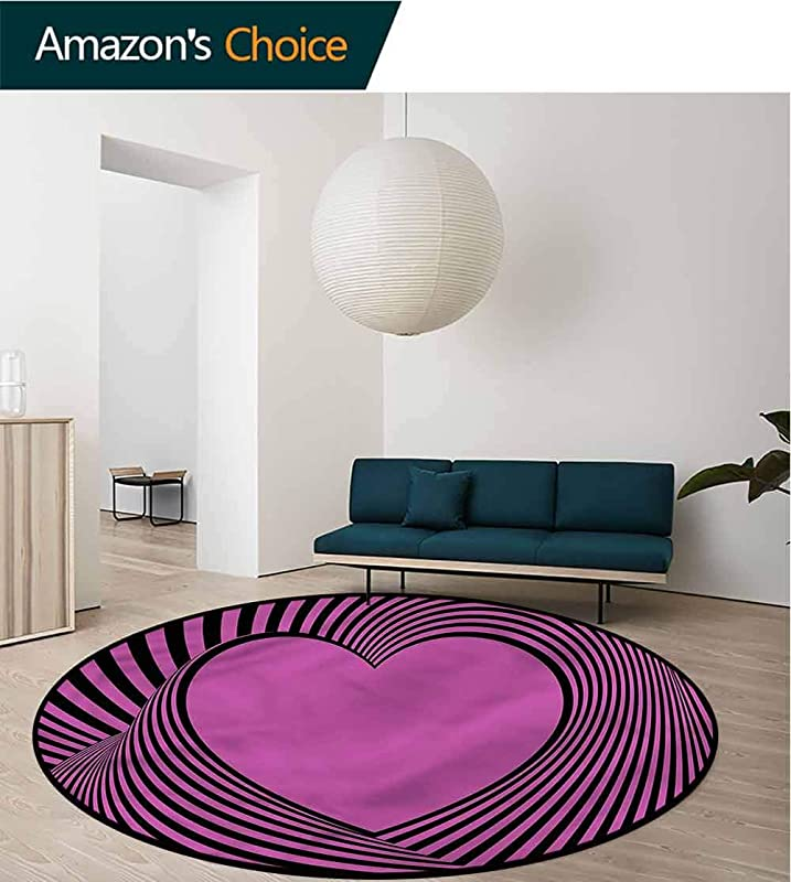 RUGSMAT Pink Zebra Area Rugs Ring 3D Non Slip Rug Heart Shape Lines Protect Floors While Securing Rug Making Vacuuming Diameter 24