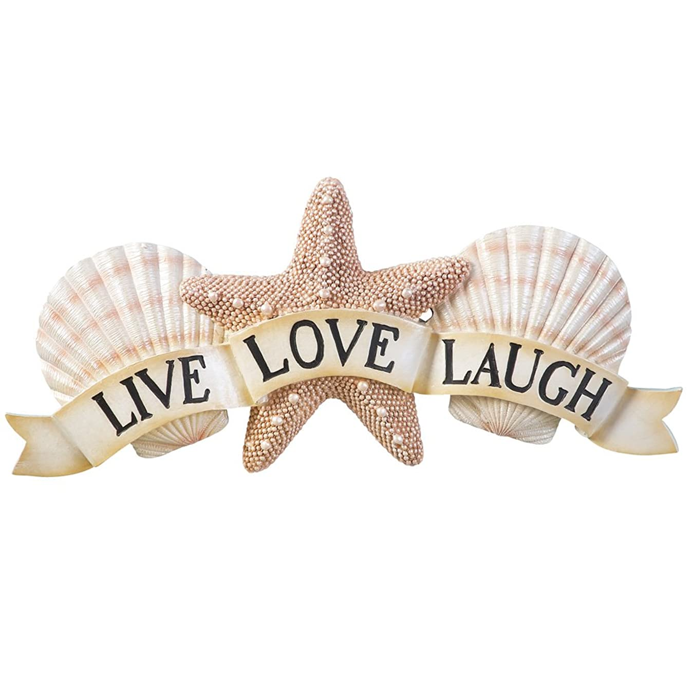 Collections Etc Inspirational Live Laugh Love Coastal Seashell Wall Art, Beige