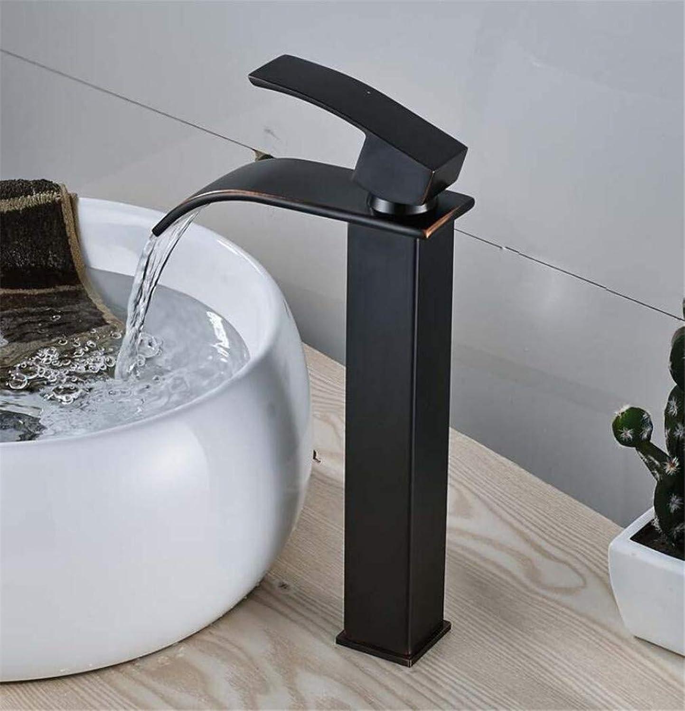 L eingerieben Bronze massivem Messing einzigen Griff Waschbecken Wasserhahn Wasserfall Auslauf Mischbatterie Deck montiert