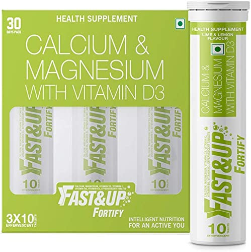 Fast Up Fortify Calcium Supplement 500Mg Elemental Calcium Vitamin D3 For Complete Bone Health And Support 30 Effervescent Tablets Lime And Lemon Flavour