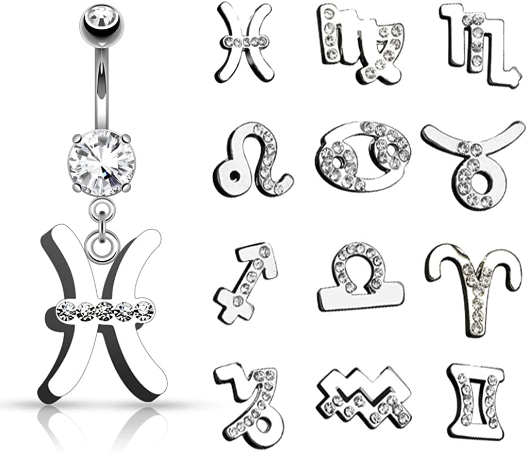 TheMaddHatter Zodiac Sign Dangle Navel Belly Ring (316L) Surgical Steel 14g (1.6mm) (1 Piece)