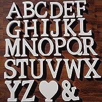 1セット(26文字+ 2記号)白い木製の文字26文字ハートの形と結婚披露宴の誕生日の家の装飾英語のアルファベットの単語