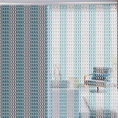 Ejoyous Aluminium Kettenvorhang Metallkette Vorhang Schädlingsbekämpfung Ketten Vorhang Türvorhang Sichtschutz 90 x 214.5cm (Silber + Blau)