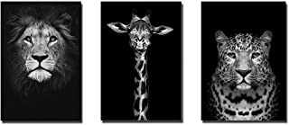 Black and White Animal Painting The Lion & Giraffe & Cheetah Cafe Home, Office, Decoration Painting,Wall Painting Wall Art...