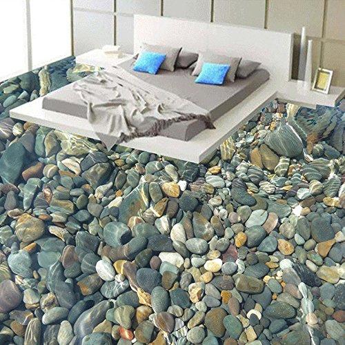 Bodenbelag 3D lebensechte Kieselsteine Wohnzimmer Schlafzimmer Badezimmer Bodenbild PVC selbstklebende Tapete Wandverkleidung, 300X210cm