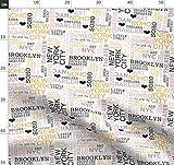 New York, Text, Klassisch, Nyc, Pastell, Manhattan Stoffe -