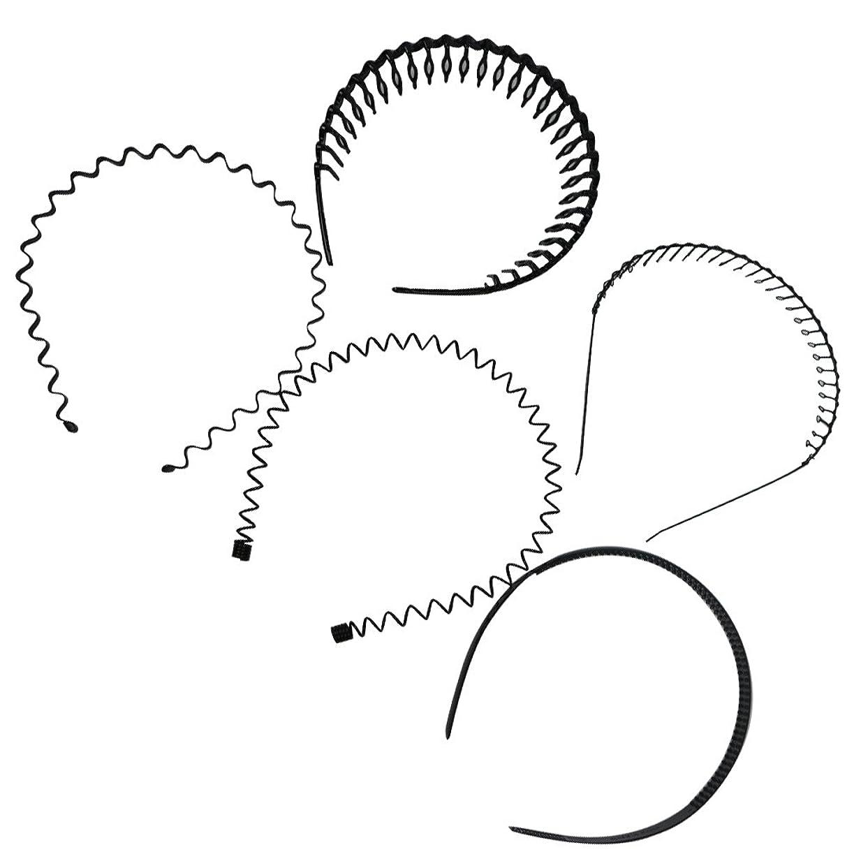 若いやむを得ないバンガローSallex7 ヘアバンド カチューシャ 5本セット 5種入り 男性 女性 兼用 髪留め ヘアアクセサリー