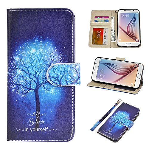 UrSpeedtekLive S6 Case, Galaxy S6 Wallet Case, Premium PU Leather Wristlet Flip Case Cover with Card Slots & Stand Compatible Samsung Galaxy S6, Believe in Yourself