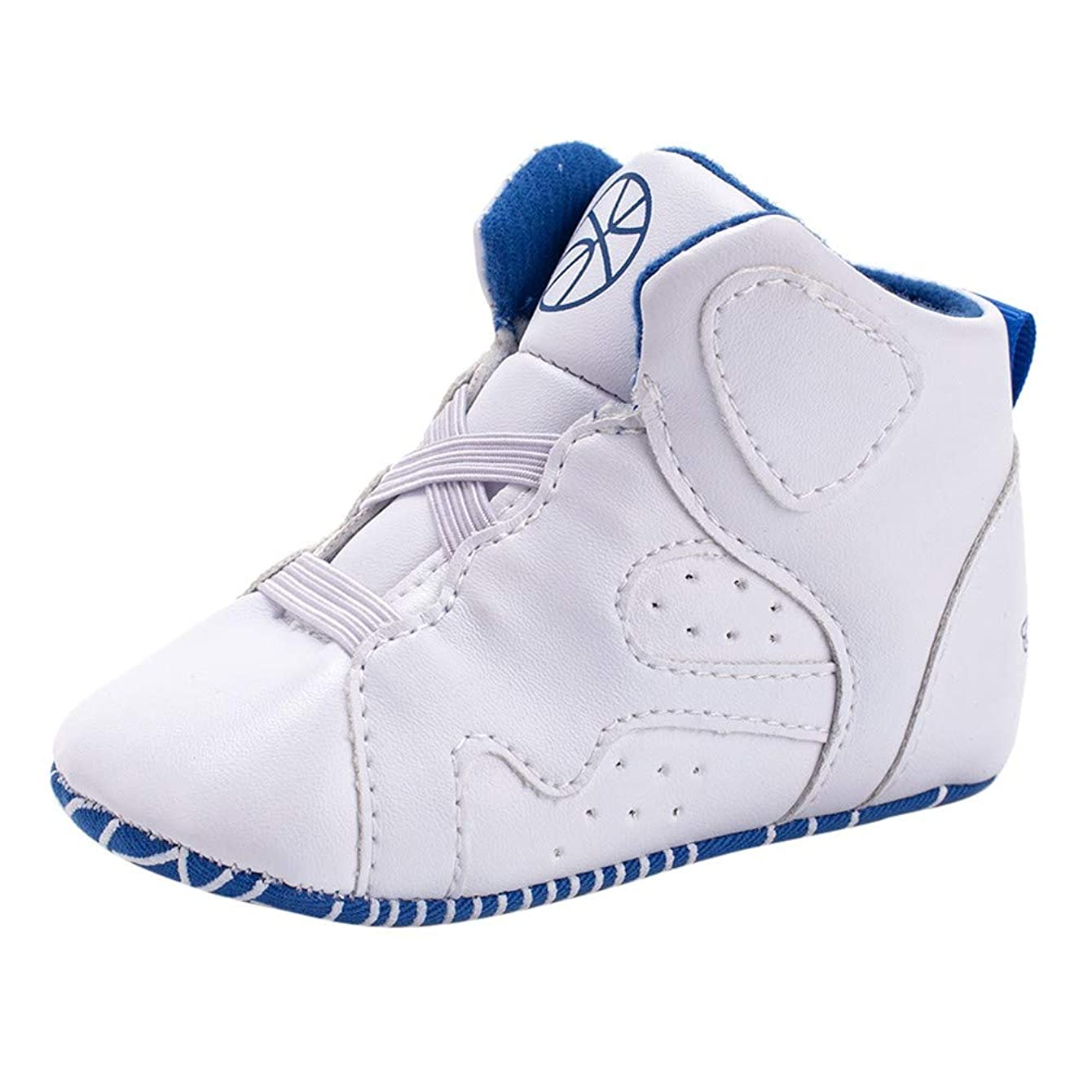 Yezike Newborn Toddler Baby Basketball Shoes Geometric Soft Sole Boot Casual Shoes (12-18 Months, White)