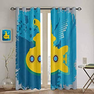 DONEECKL Yellow Submarine Window Curtain an Illustration of a Submarine Bubbles Under The Sea Print for Living Room or Bedroom W42 x L45 inch Mustard and Petrol Blue