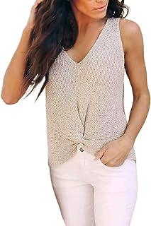 e1775707e5f2b Women Sexy Knitwear Vest Sleeveless V-Neck Sweater Knot Fashion Long Tops  Summer Fashion Women