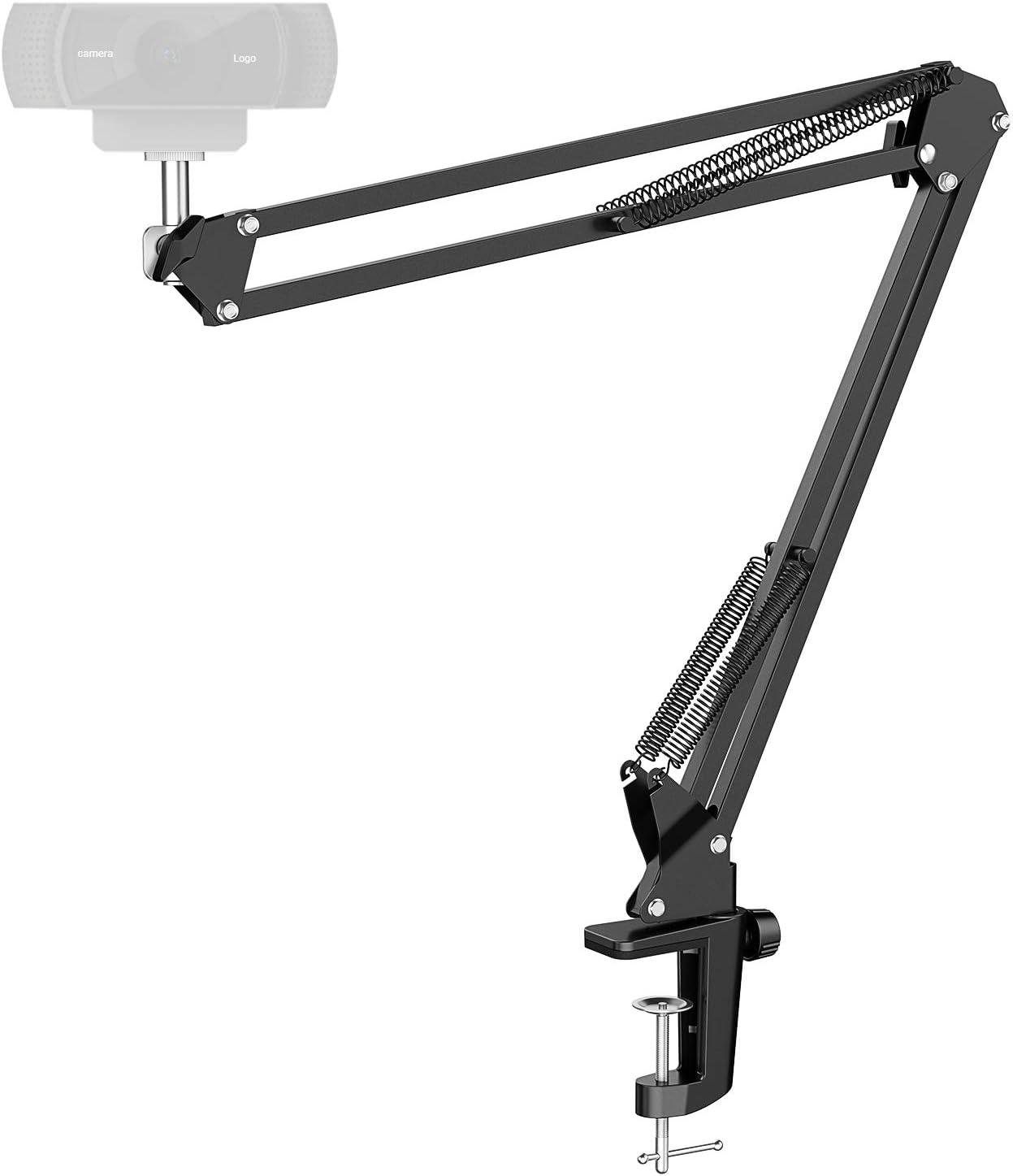 Amada Webcam Stand, Webcam Clamp Mount Adjustable Suspension Boom Scissor Arm Stand for Logitech Webcam C922x C930e C930 C920 C615 C930e C925e Brio 4K, GoPro Hero 8/7/6/5/4