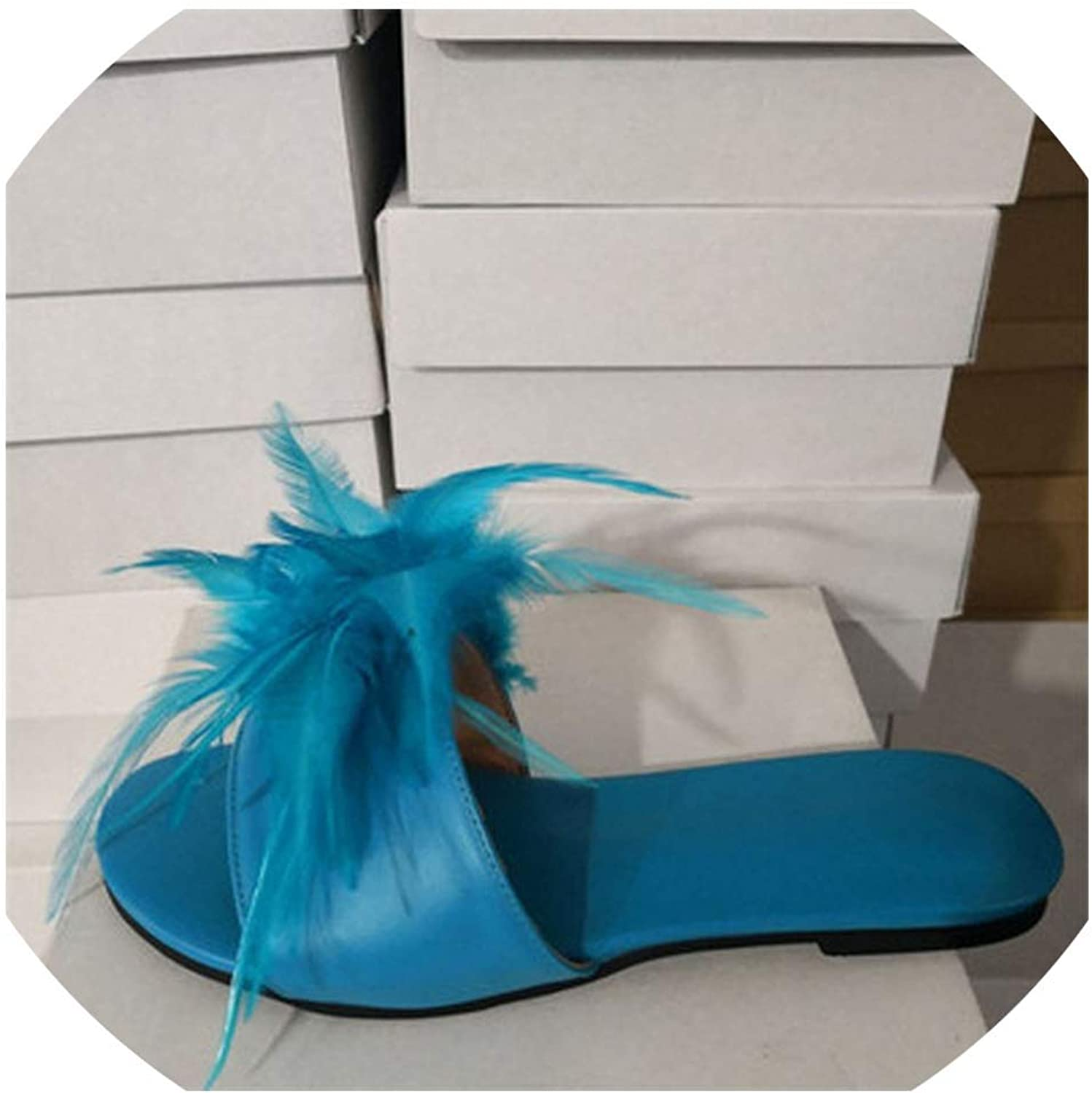 Sunshine-Family Girl Bird Feather Fur Tassel Covered Flats Slipper Women Open Toe Beach shoes Sexy Slippers