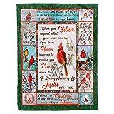 Personalized Custom Name Date Memorial Cardinal Appears in Loving Memory of Dad Mom Grandma Grandpa Remembrance Bereavement Christmas Customized Red Bird Fleece Sherpa Blanket Throw Size