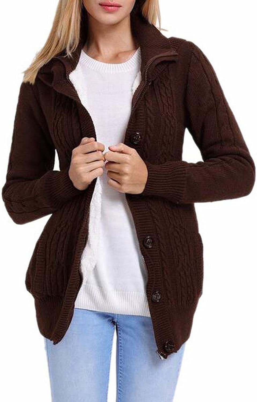 GenericWomen Generic Women's Winter ZipUp Buttons Front Warm Knit Cardigan Sweaters with Hood
