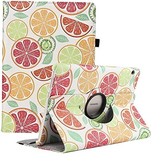 RLINGX Funda para Huawei MediaPad T3 10 - Giratoria 360 grados de rotación Funda protectora Stand Case para Huawei MediaPad T3 10 (9.6' Zoll) (Fruit)