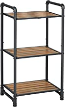 VASAGLE Bathroom Shelf, 3-Tier DIY Storage Rack, Industrial Style Extendable Plant Stand with Adjustable Shelf, for Living...